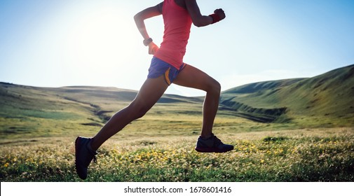 Young fitness woman trail runner running on high altitude grassland