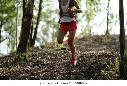 Young fitness woman ultramarathon trail runner running in summer forest