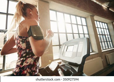 Young focused female working out at gym jogging on a treadmill. Fitness woman doing running exercise in the health club.