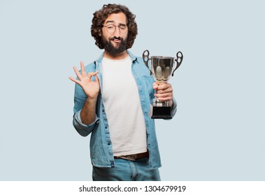 young fool man with a trophy