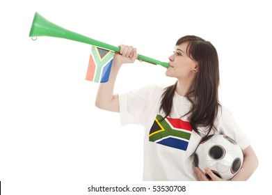 Young football fans supporting their teams wearing South Africa shirts.