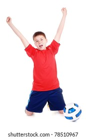 Young football player expressing happy emotions