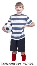 Young football player at striped t-shirt