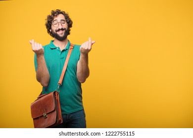 young freelancer man expresing a concept against orange isolated background