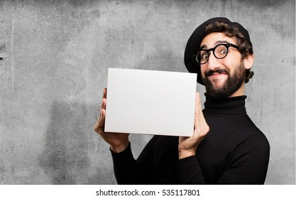 young french artist with a box