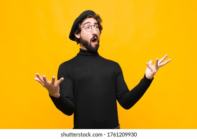 young french artist man performing opera or singing at a concert or show, feeling romantic, artistic and passionate against orange wall