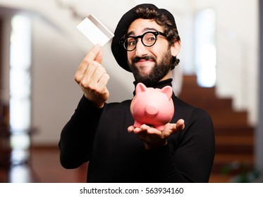 young french artist with piggy bank