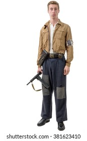 a young French Resistance, vintage clothes and weapons, reenactment