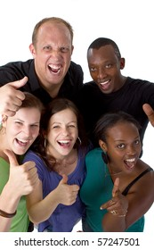 Young fresh multiracial group giving thumbs up sign and are really happy.