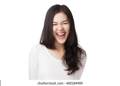 Young friendly Asian woman with smiley face isolated on white background.