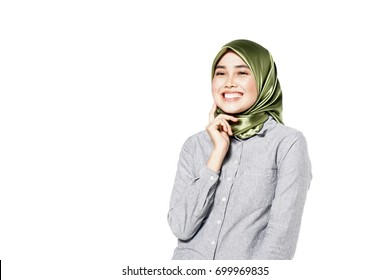 Young friendly Asian woman with smiley face isolated on white background
