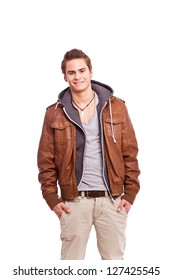 young, friendly guy in leatherjacket