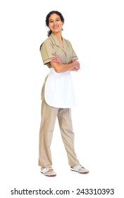 Young friendly Housemaid woman isolated white background.