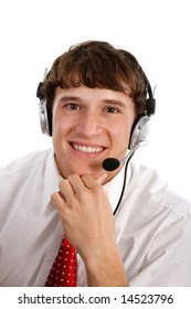 Young Friendly Male Technical Support Person on Isolated Background