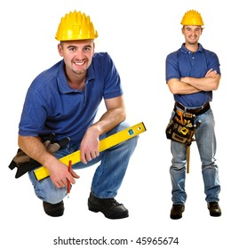Young friendly manual worker isolated on white. Crouch & standing version