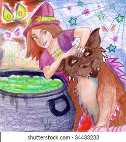 A young friendly-looking witch is sitting in front of a cauldron with a furry beast beside her