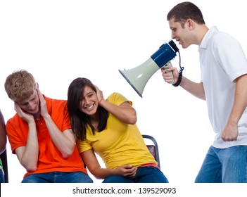 Young friends being yelled at by another with a bullhorn on a white background
