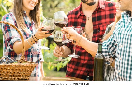Young friends having fun outdoor clinking red wine glasses - Happy people eating grape and drinking at harvest time in farmhouse vineyard winery - Youth friendship concept with shallow depth of field