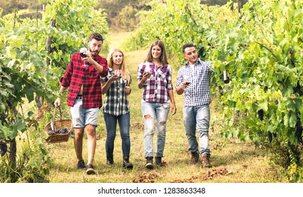 Young friends having fun walking at winery vineyard outdoors - Friendship concept with happy people enjoying harvest together at farm house - Red wine bio production experience - Warm vivid filter
