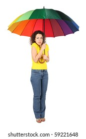 young frozen beauty woman in yellow shirt with multicolored umbrella standing isolated on white