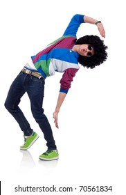 young funky man posing, isolated on white background