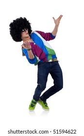 young funky man welcoming everybody to the party