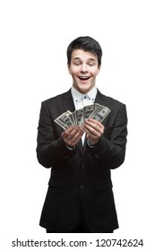 young funny caucasian brunette business man holding counting money