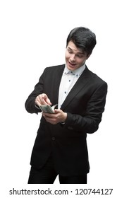 young funny caucasian brunette business man  counting money