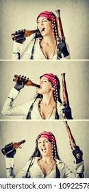 Young funny and happy woman in costume of pirate with bottle and gun. Yo-ho-ho and a bottle of rum concept