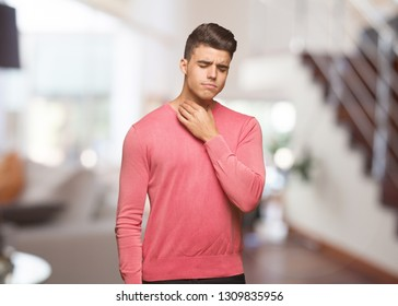 Young funny man coughing, sick due a virus or infection