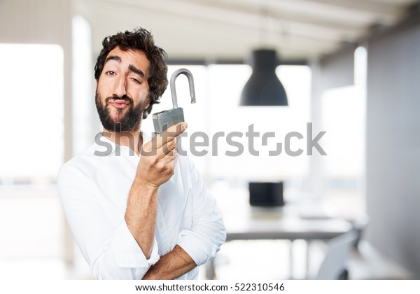 young funny man with lock