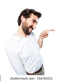 young funny man pointing.disagree expression
