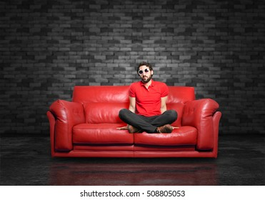 young funny man sitting down.