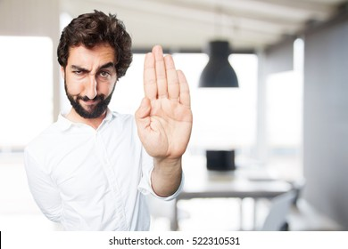 young funny man stop gesture.disagree expression