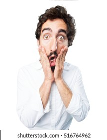 young funny man surprised. surprise expression
