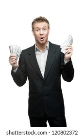 young funny screaming caucasian businessman in black suit holding money isolated on white