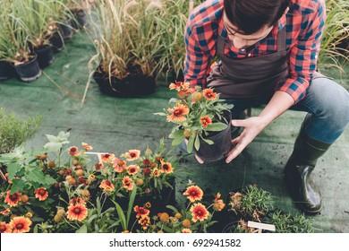 young gardener checking flower in flowerpot while working in garden