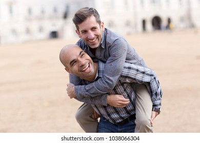 young gay couple having fun