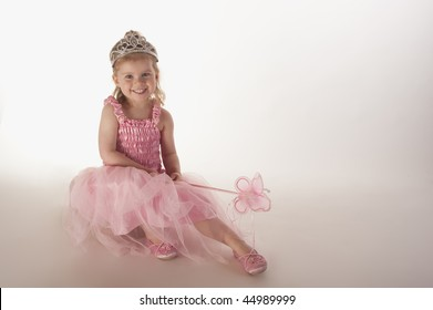 young girl (3 years old) dressed in fairy princess costume against white  background cf0182a3a8cc