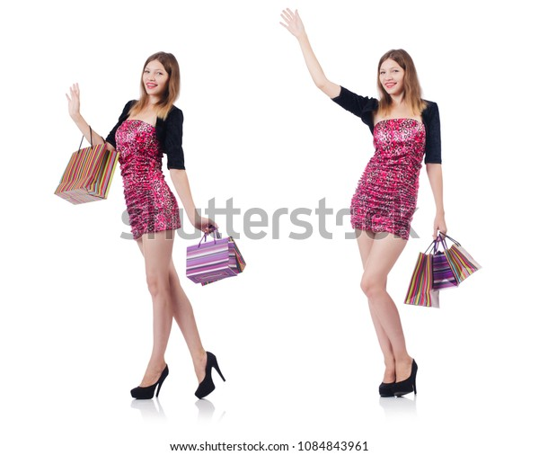 Young girl after good shopping on white