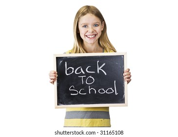 young girl is back to school