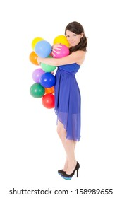 Young girl with balloons on a white background