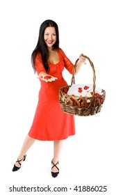 young girl with basket of flowers isolated on white