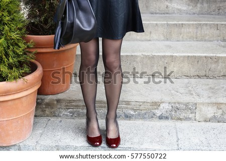 White black stockings stilettos