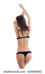 young girl in black lingerie with sexy buttocks worth turning your back to the camera
