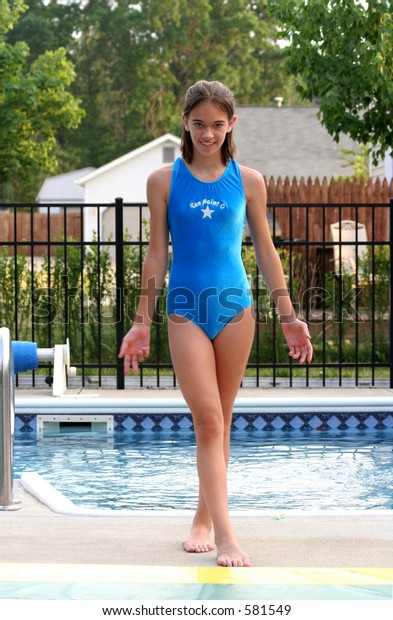 3f14255ed9349 Young Girl Blue Bathing Suit Standing Stock Photo (Edit Now) 581549