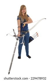 Young girl with blue shirt and jeans holding a longbow isolated in white