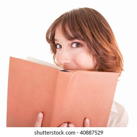 young girl with book in hand on a white background