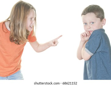 Young girl and boy in disagreement