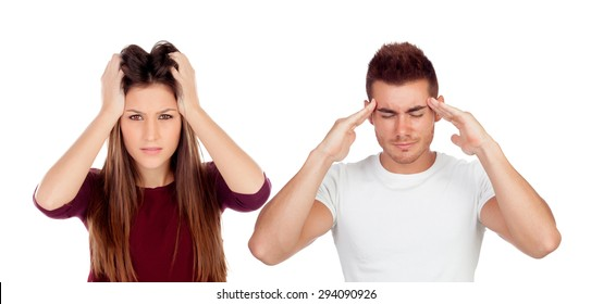 Young girl and boy with headache isolated on a white background